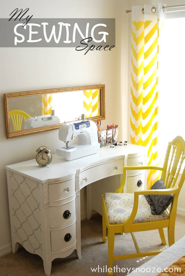 While They Snooze Thrift Store Desk Trash To Treasure: sewing room ideas for small spaces