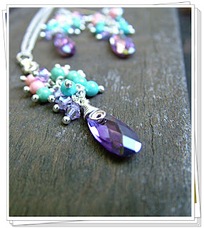 Purple Friends - Swarovski Infused Necklace & Earrings