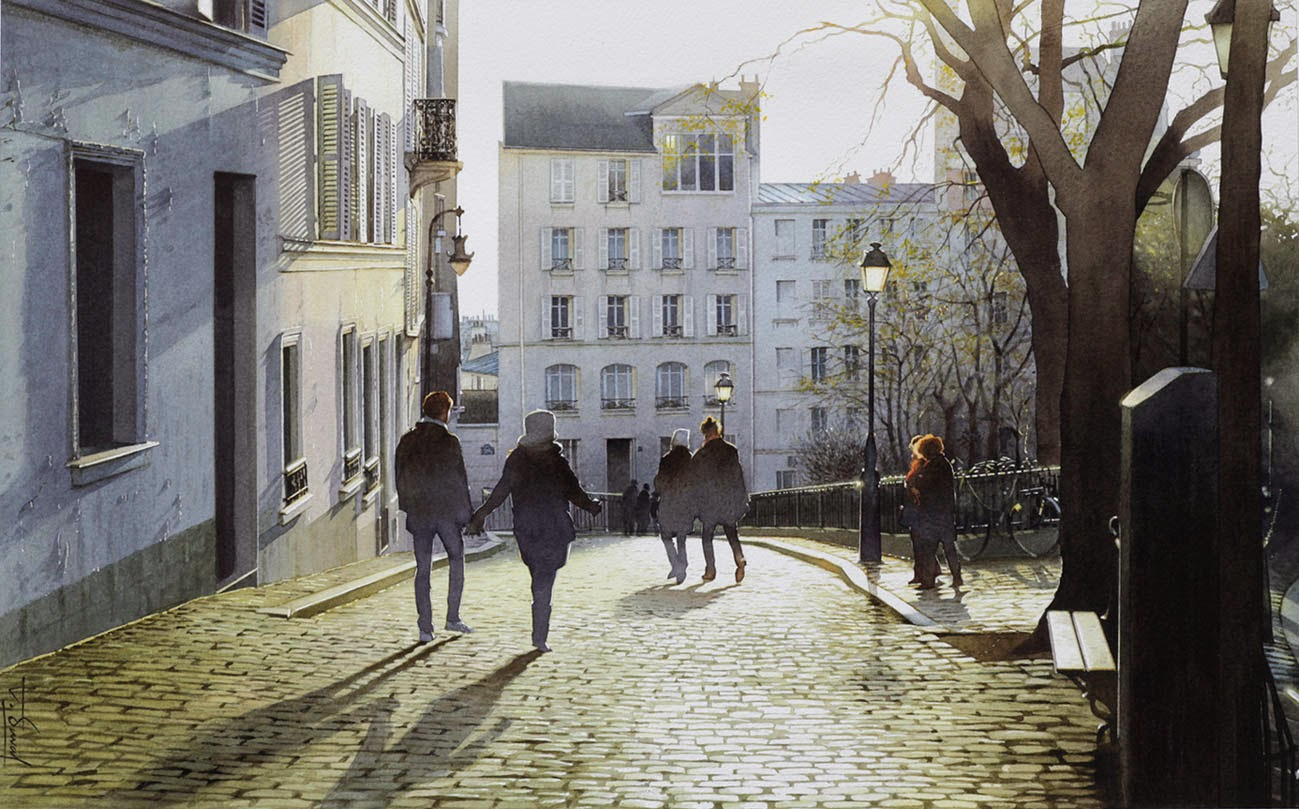 26-Montmartre-Thierry-Duval-Snippets-of Real-Life-in Watercolor-Paintings-www-designstack-co