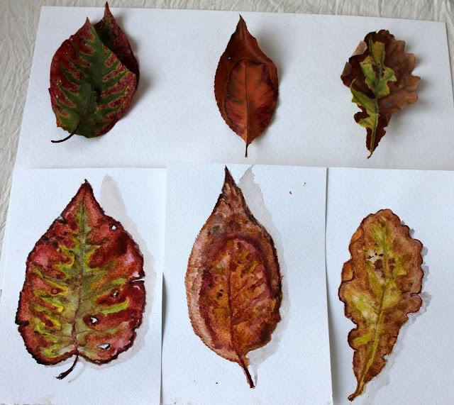 листья акварелью