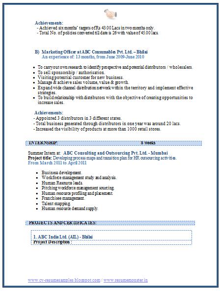 java j2ee resume tips and sample cv