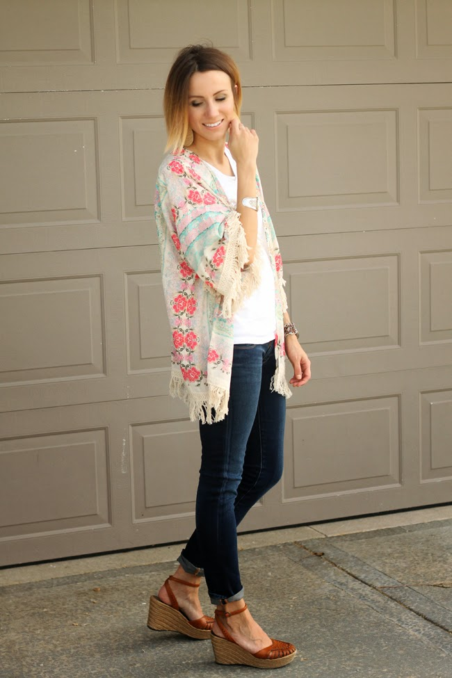 Fringed floral kimono and dark denim