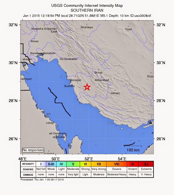 Epicentro del sísmo de 5,1 grados en Irán, el 1 de Enero 2015