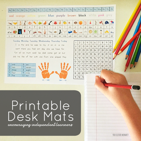 Printable Desk Mats - perfect for encouraging early independent writing, print out these desk mats with photo images to support initial sounds/digraphs knowledge for your Early Years setting | you clever monkey