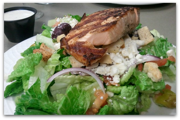 grilled crusted salmon and greek veggie salad