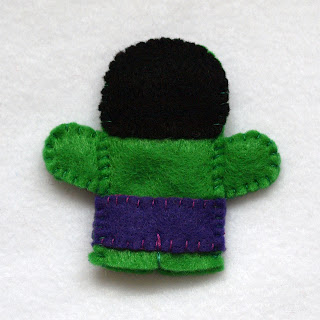 The Hulk felt fingerpuppet, handmade by Joanne Rich.
