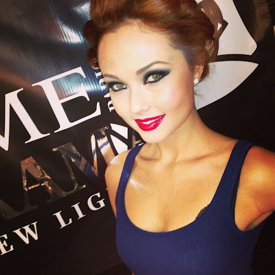Model in make-up for Macy's Glamorama fashion in a new light