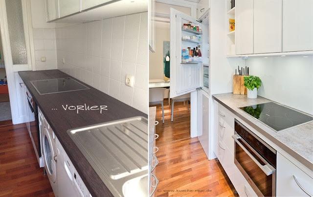 Miele Haushaltsgeräte für eine kleine Küche mit integrierter Waschmaschine, Küchenumbau