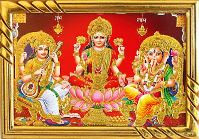 Saraswati Matha and Ganesha, Ganesh and Laxmi devi Wallpaper, Wallpaper of sarasawati and laxmi devi