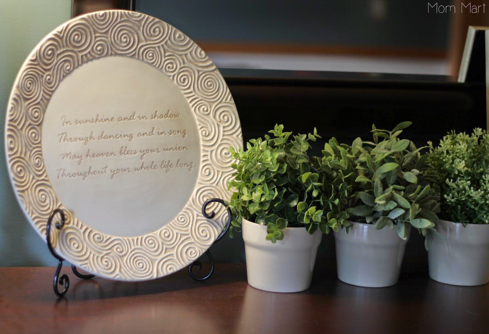 Inexpensive Dining Room Makeover Vignette DIY WeddingPlate WeddingQuote Topiary
