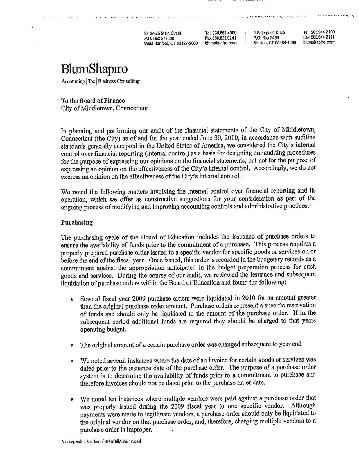 middletowneye  auditor u0026 39 s management letter