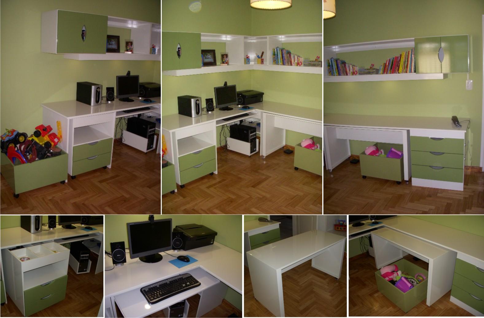 sala de juego y estudio con escritorio esquinero mesas extaribles cajoneras cubos de guardado estantes y espacios cerrados laqueado en blanco y verde