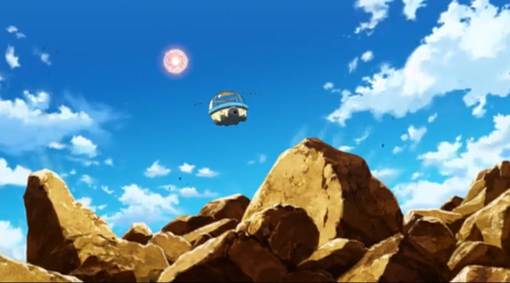 Seeing the giant power ball on Earth. The capsule of the Capsule Corp.
