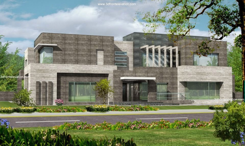 3d front karachi 2 kanal modern for Pakistani new home designs exterior views