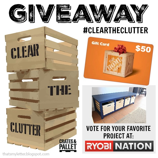clear the clutter Home Depot gift card giveaway