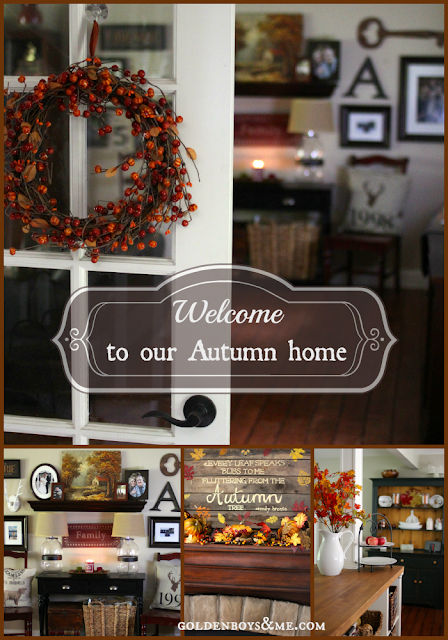 Fall Home Tour with corner stone fireplace and gallery wall via www.goldenboysandme.com