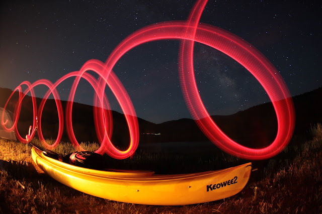 A yellow kayak under the stars at Sylvan Lake State Park near Eagle, Colorado.
