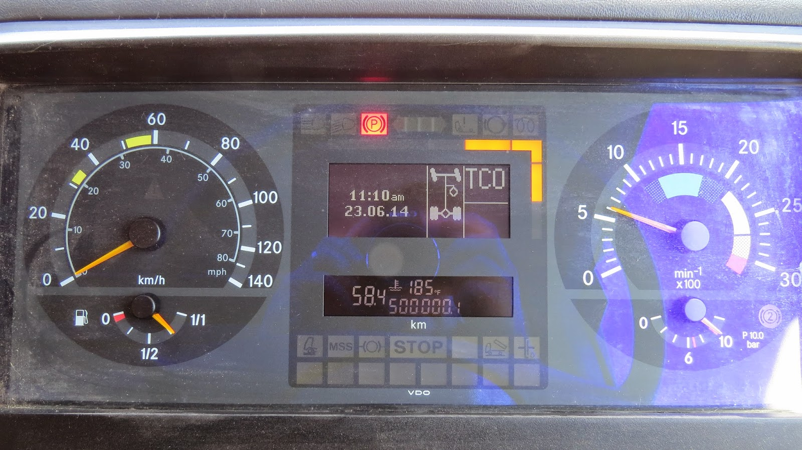 The odometer on our Mercedes Atego 1823 overland motorhome passes half a million kilometers