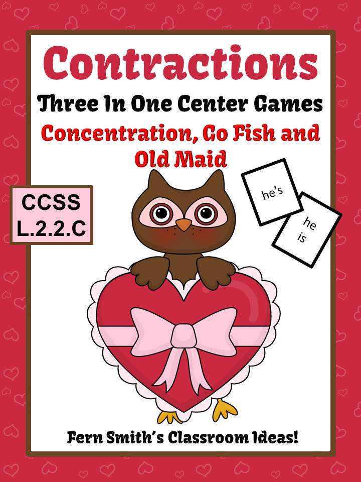 http://www.teacherspayteachers.com/Product/Valentines-Contractions-Center-Games-Task-Cards-Printables-Notebook-Pages-1051354