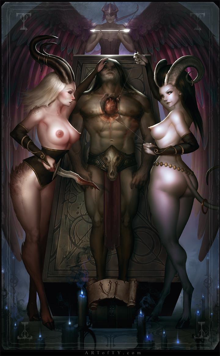 demon and angel girl naked