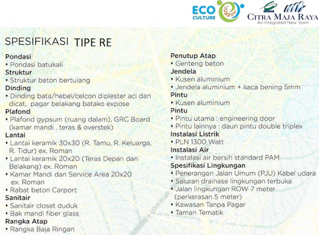 Spesifikasi Rumah Real Estate Citra Maja Raya