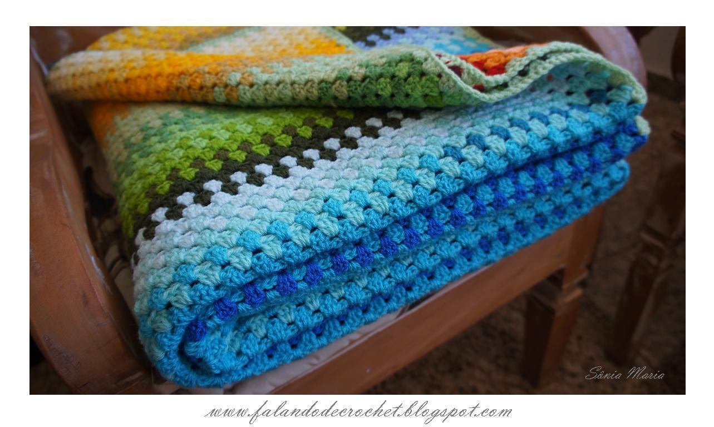 Falando de crochet manta em croche granny listrada 3 - Mantas a crochet ...