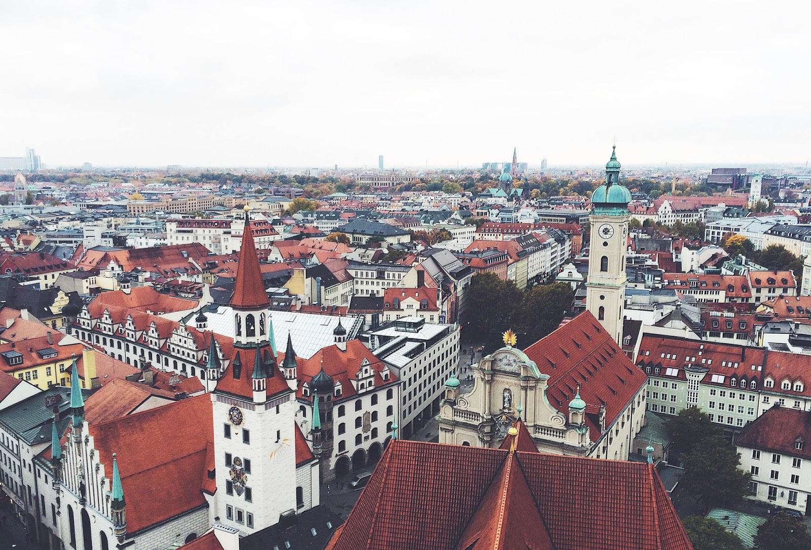 munich bayern germany city view from saint peter church