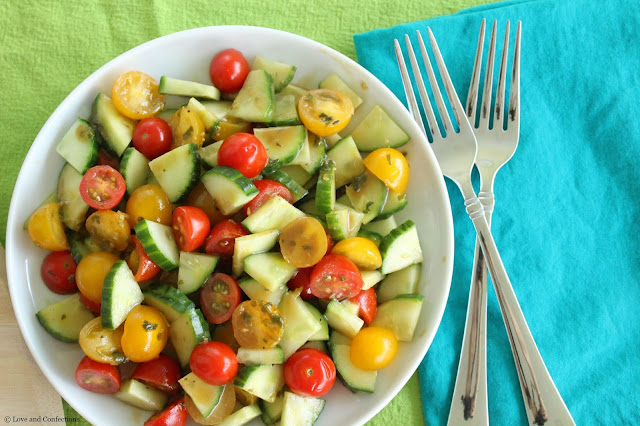 Cucumber and Tomato Salad with Basil-Balsamic Vinaigrette
