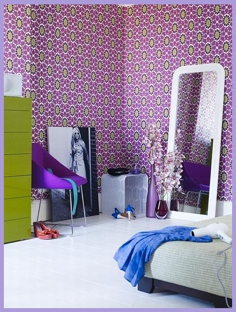rooms of inspiration purple and green bedroom. Black Bedroom Furniture Sets. Home Design Ideas