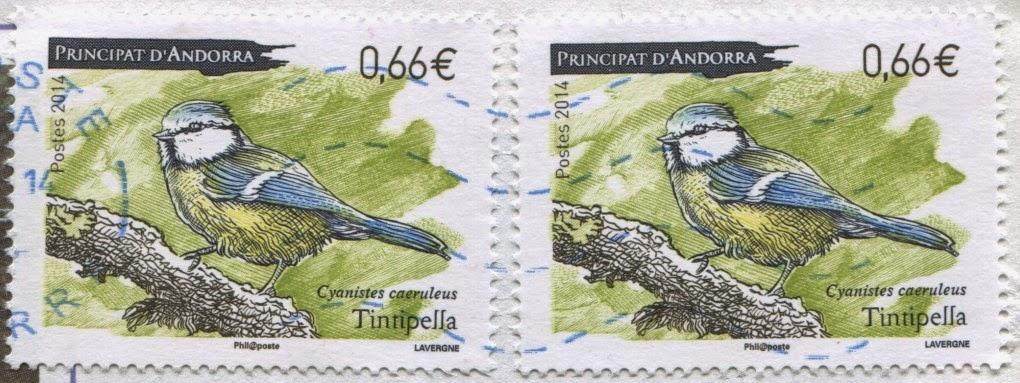 stamp, andorra, cyanistes caeruleus, eurasian blue tits