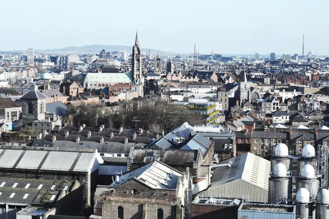 Guinness storehouse, view, skyline, dublin, tower, museum, ireland