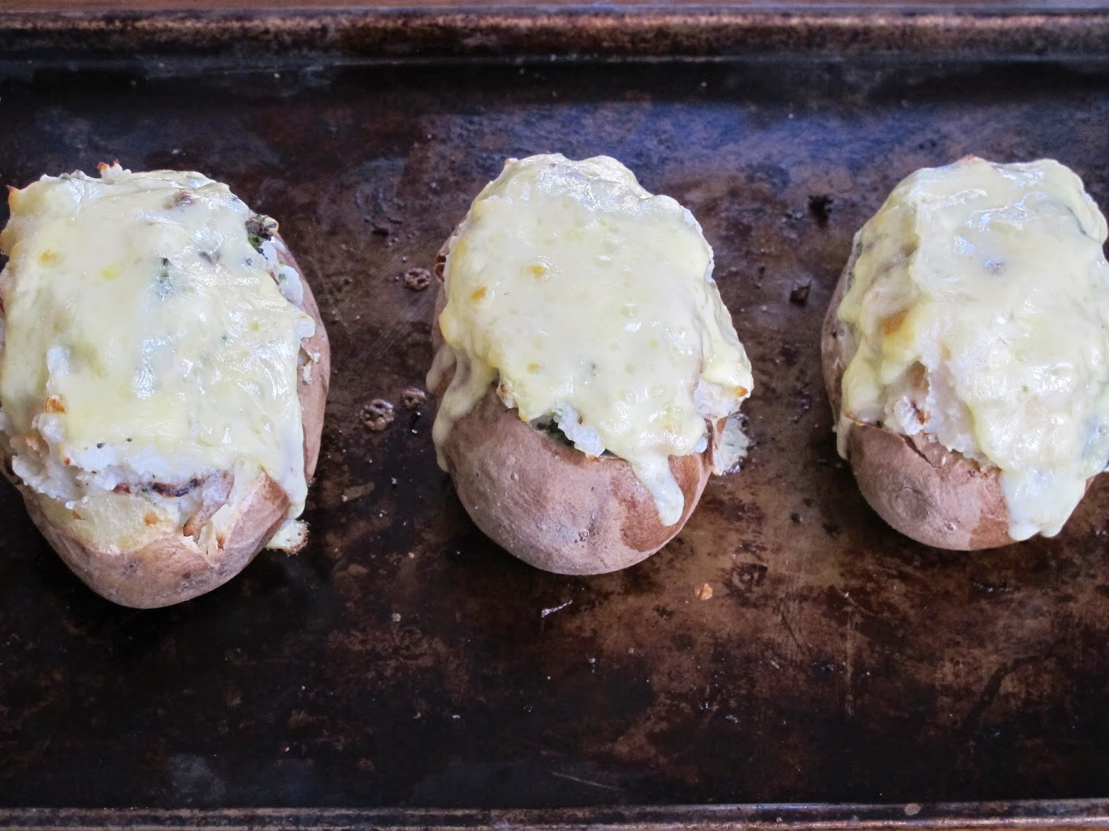 Chicken and Broccoli Twice Baked Stuffed Potatoes