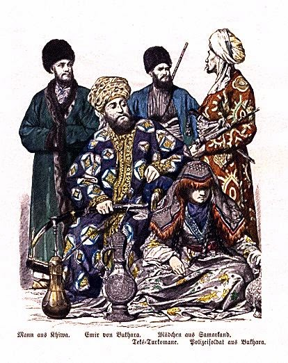 http://commons.wikimedia.org/wiki/File:Man_from_Khiva,_Emir_of_Bukhara,_Teke_Turkmen,_Girl_from_Samarkand,_Police_Soldier_from_Bukhara.JPG