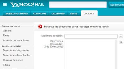 bloquear correos en yahoo