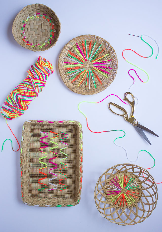 How To Make A Woven Yarn Basket : How to embroider baskets with yarn design improvised