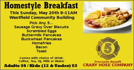 5-20 Homestyle Breakfast, Crary Hose Co., Westfield