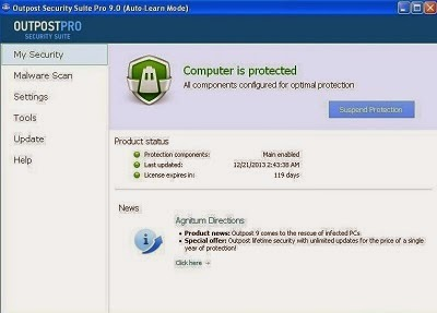 Outpost Security Suite Pro 9 license Key