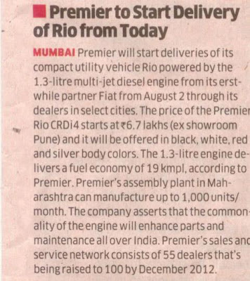 Deliveries start today for the Premier RiO CRDi4 powered by the 1.3 litre multi-jet disel engine (from Fiat).