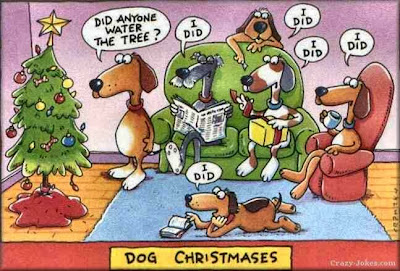 Funny dog family Christmas cartoon - Did anyone water the tree?  I did, I did, I did