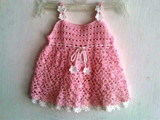Model baju Bayi Rajut Lucu Warna Pink