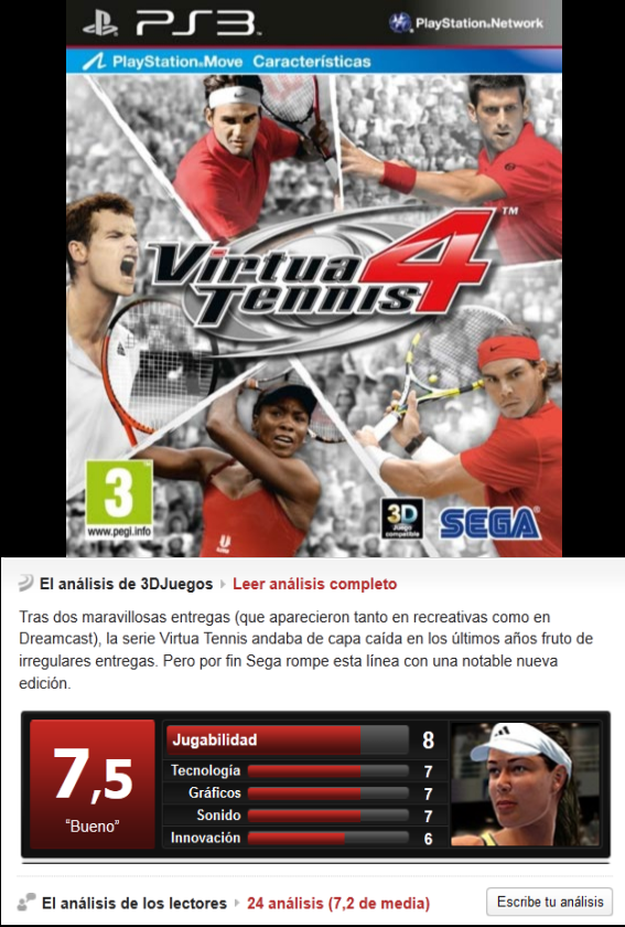 Virtua Tennis 4 [Multi][3.55][PS3]
