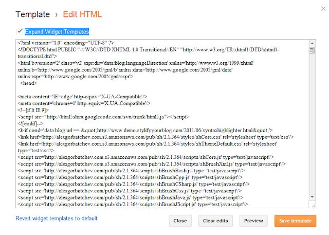 Edit HTML Blogger dashboard