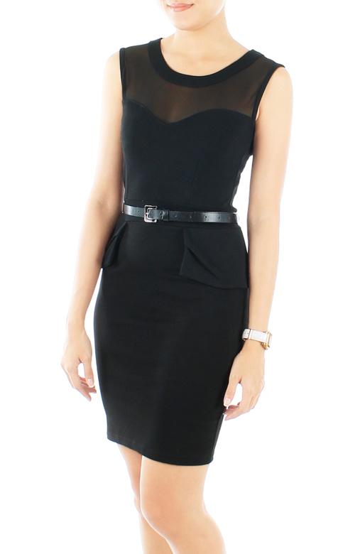 Black Runway Peplum Dress with Mesh Detailing