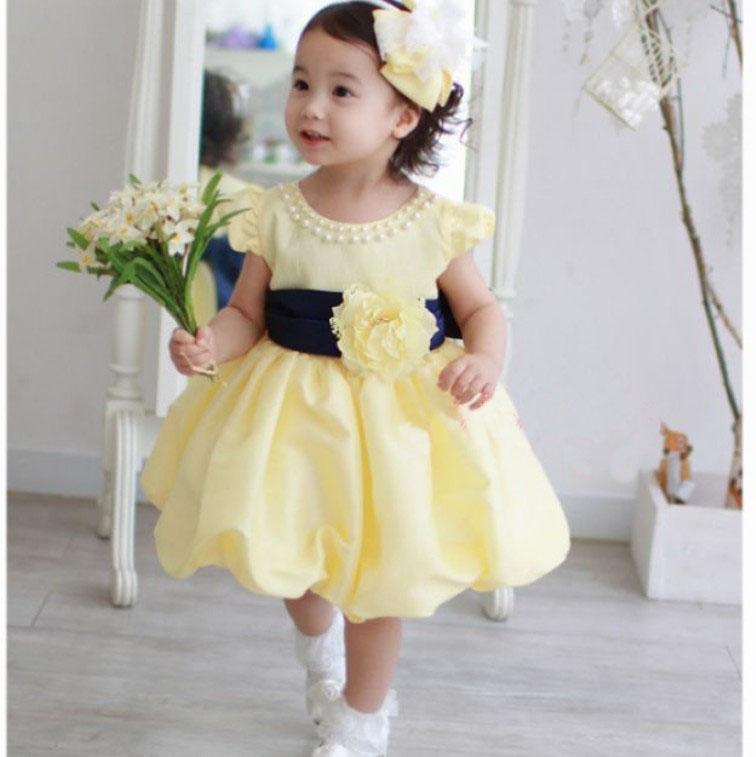Baju Pesta Anak Perempuan Warna Kuning