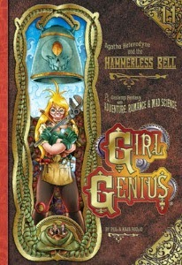cover art for The Hammerless Bell, featuring Agatha standing beneath an enormous bell with a skull on it. She holds two wrenches crossed before her.