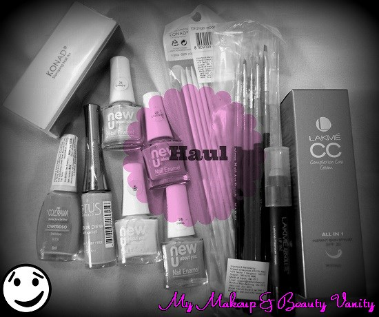 a colorful haul+konad+nail art+nail art brushes+orange stick++lakme+lakme lip  tint+mlbb lipstick+cc cream+lakme +cream+face cream+lakme cc cream+maybelline+new U+pastel nail polishes+lotus+nail polishes