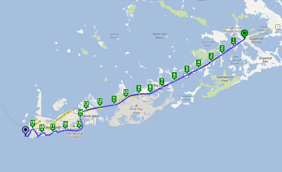Florida Keys With Mile Markers Map