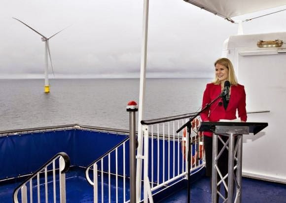 Denmark's Prime Minister Helle Thorning-Schmidt inaugurates the country's biggest offshore wind power farm near the island of Anholt September 4, 2013. (Credit: Reuters/Henning Bagger/Scanpix Denmark) Click to enlarge.