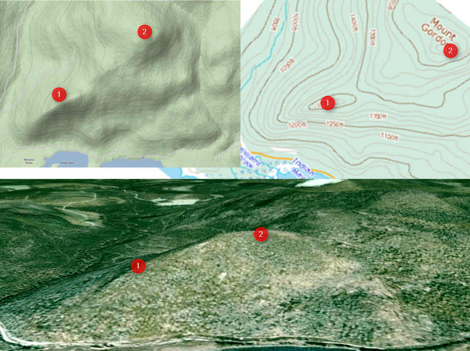 Contour lines, projection and satellite image
