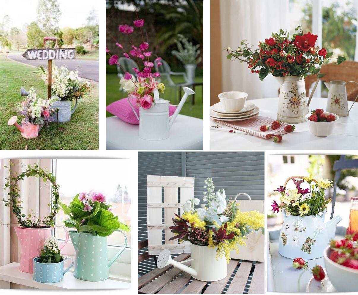 Jarras y regaderas para colocar flores